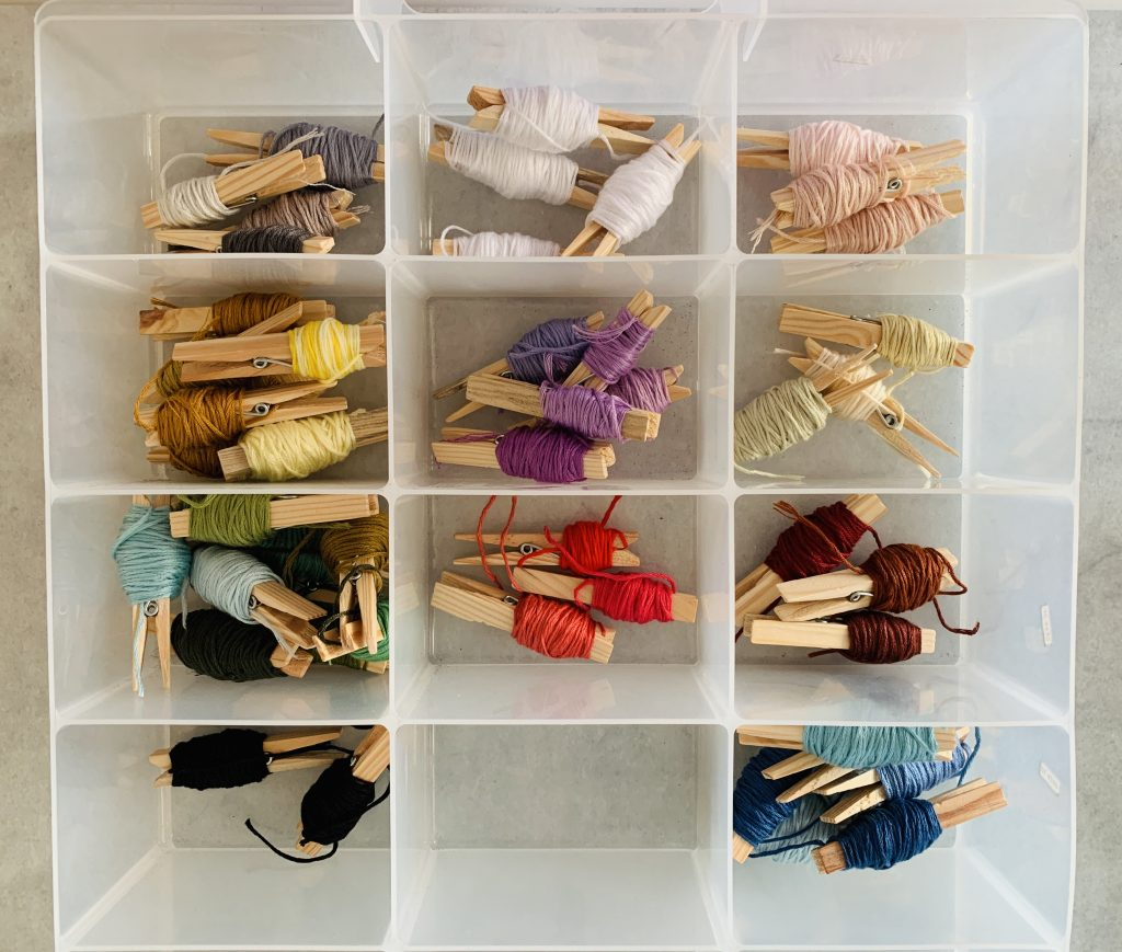 A plastic container with dividers storing colour assorted embroidery threads.