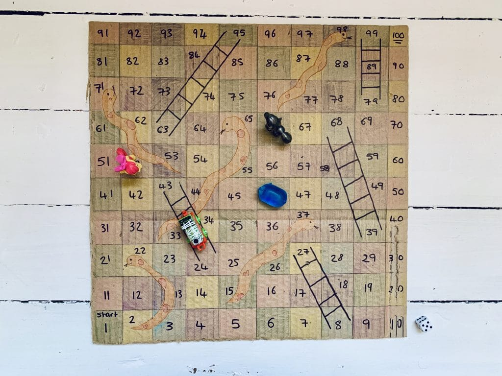 Cardboard snakes and ladders - how to make your own snakes and ladders.